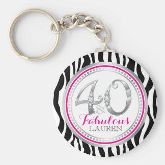 Chaveiro 40 & corrente chave do aniversário fabuloso