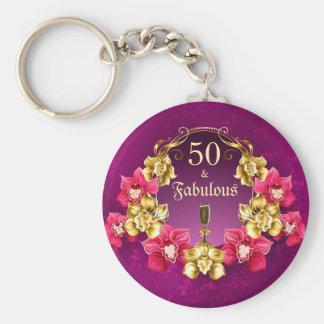 Chaveiro 50 e orquídeas fabulosas e Champagne do rosa do