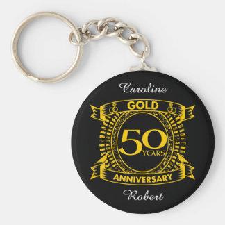 Chaveiro 50th Aniversário de casamento do ouro