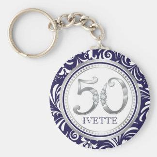 Chaveiro 50th Azul & prata chaves do Corrente-Marinho do