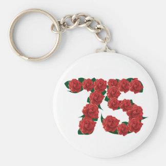 Chaveiro 75th rosa vermelha número 75 do aniversário