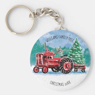 Chaveiro A árvore de Natal vermelha do trator do vintage