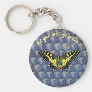 Chaveiro A borboleta em cubos azuis