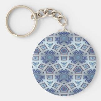 Chaveiro A engrenagem geométrica artística azul gosta do