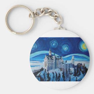 Chaveiro A noite estrelado com castelo romântico Van Gogh