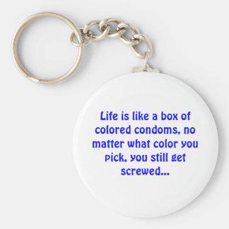 Chaveiro A vida é como uma caixa de preservativos coloridos