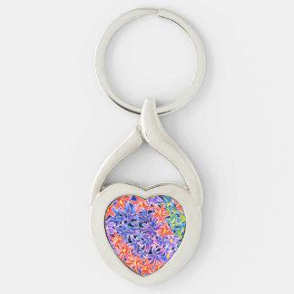 Chaveiro Aguarela floral bonita Keyring Prata-colorido