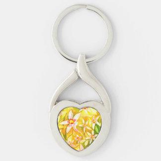 Chaveiro Aguarela floral bonito anel chave Prata-colorido