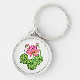 Chaveiro Aguarela Lotus cor-de-rosa com botões & folhas