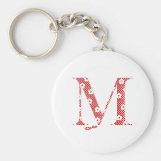 Chaveiro alfabeto M da flor (vermelho e pontos)