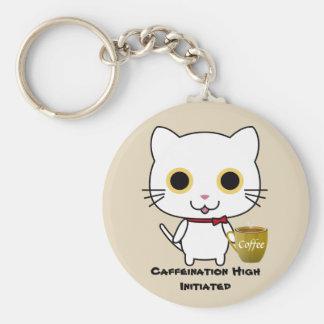 Chaveiro alto do botão da cafeína do gato