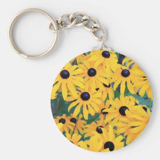 Chaveiro Amarelo das flores de Susan de olhos pretos dentro