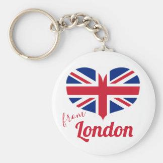 Chaveiro Amor da bandeira BRITÂNICA dada forma coração