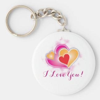 Chaveiro amor dos namorados em corações cor-de-rosa