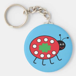 Chaveiro Anel chave do botão afortunado da joaninha