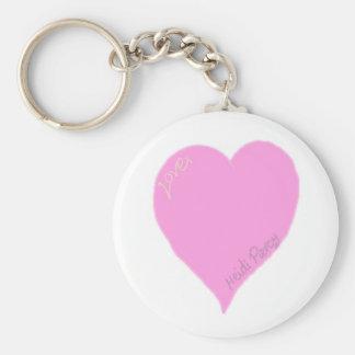 Chaveiro Anel chave do coração cor-de-rosa bonito do amor