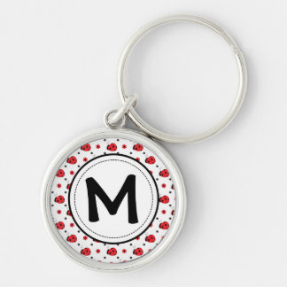 Chaveiro Anel chave do monograma bonito dos joaninhas