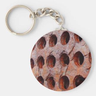 Chaveiro Anel chave oxidado do metal perfurado