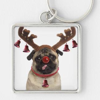 Chaveiro Antlers do Pug - pug do Natal - Feliz Natal