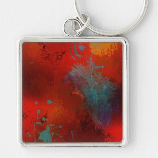Chaveiro Arte abstracta de Digitas do Grunge do vermelho,