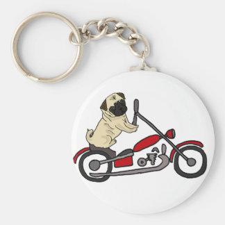 Chaveiro Arte engraçada da motocicleta da equitação do cão