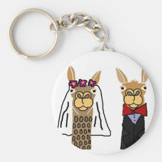 Chaveiro Arte engraçada do casamento dos noivos do lama