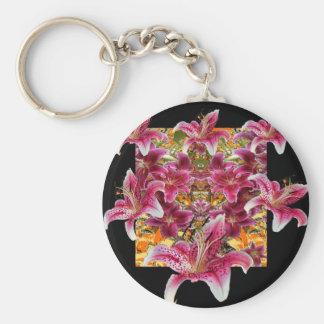 Chaveiro arte floral dos lírios do gazer da estrela