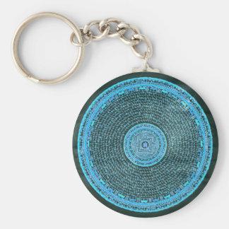 Chaveiro Arte tibetana da mandala do fogo azul (turquesa &