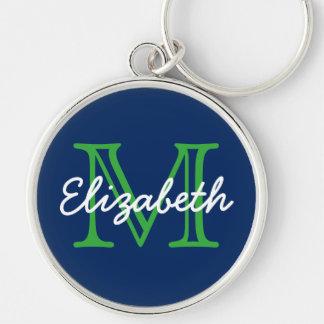 Chaveiro Azuis marinhos com monograma verde e branco