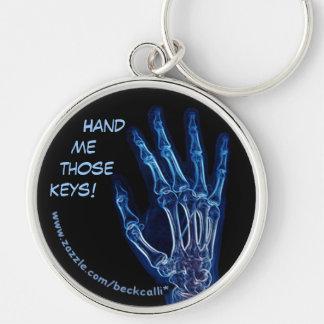 Chaveiro azul do raio X da mão