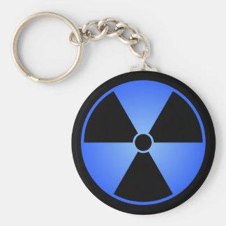 Chaveiro azul do símbolo da radiação