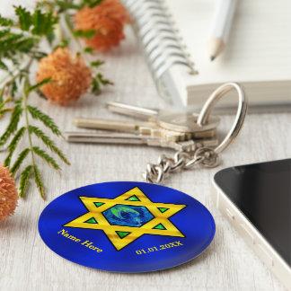 Chaveiro Azul e favores personalizados ouro de Mitzvah do