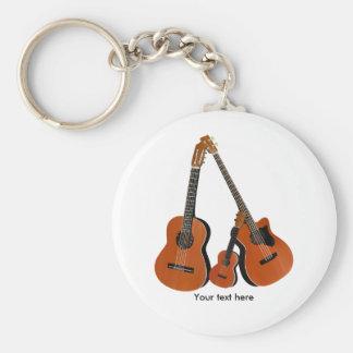 Chaveiro Baixo acústico e Ukulele da guitarra clássica