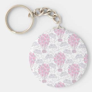 Chaveiro Balões de ar quente na arte cor-de-rosa do