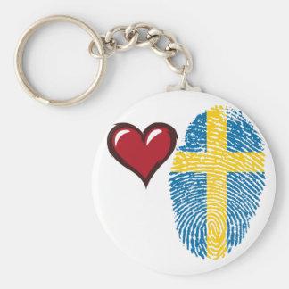 Chaveiro Bandeira da impressão digital do toque do sueco