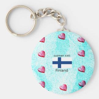 Chaveiro Bandeira de Finlandia e design finlandês da língua