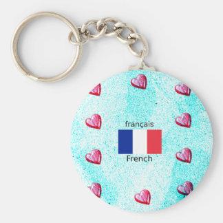 Chaveiro Bandeira de France e design da língua francesa