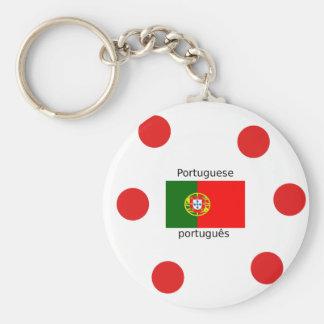 Chaveiro Bandeira de Portugal e design português da língua