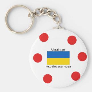 Chaveiro Bandeira de Ucrânia e design ucraniano da língua