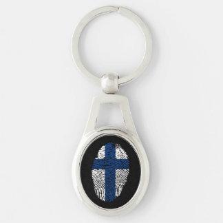 Chaveiro Bandeira finlandesa da impressão digital do toque