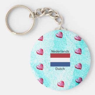 Chaveiro Bandeira holandesa e design holandês da língua