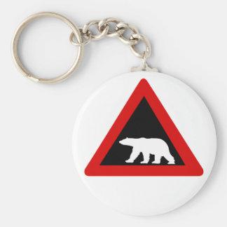 Chaveiro Beware dos ursos polares, sinal de tráfego,