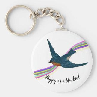 Chaveiro Bluebird crescente com fundo estilizado do