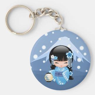 Chaveiro Boneca de Kokeshi do inverno - menina de gueixa