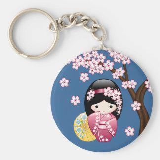 Chaveiro Boneca de Kokeshi do primavera - gueixa japonesa