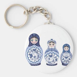 Chaveiro Bonecas azuis de Matryoshka