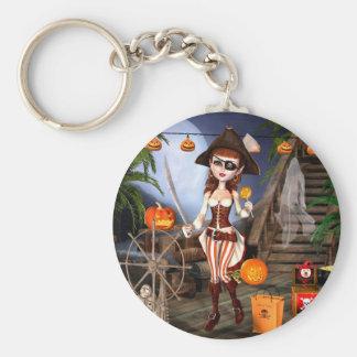 Chaveiro bonito do botão da menina do pirata do