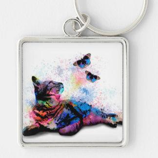 Chaveiro Borboleta azul cor-de-rosa do gato 614