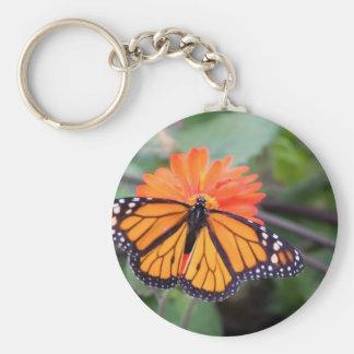 Chaveiro Borboleta de monarca na flor alaranjada