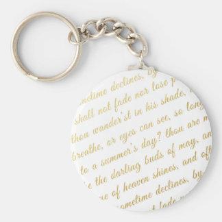 Chaveiro Branco da poesia da tipografia do ouro do falso do